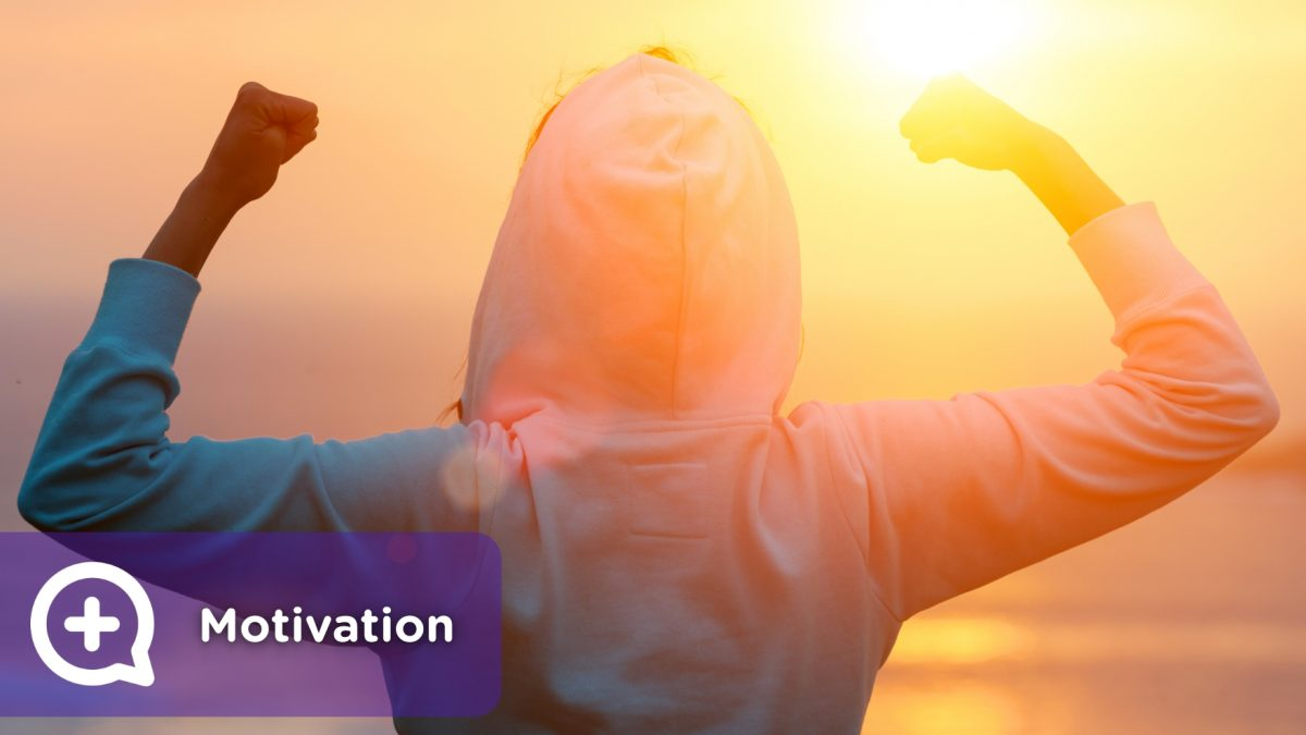 Person motivated to achieve objectives. Personal growth. Reach goals.
