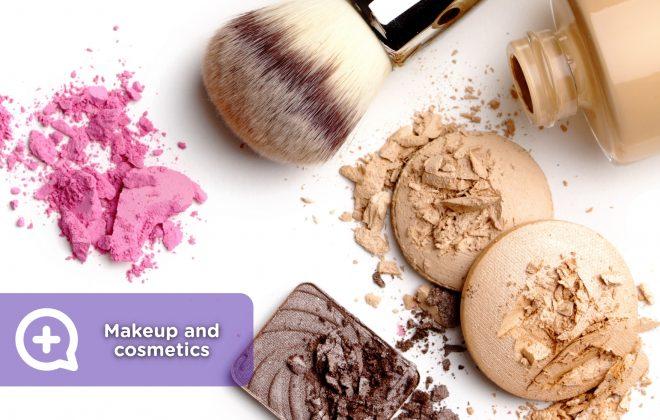 Cosmetics, makeup, foundation, brushes, allergy, expiration, dermatology.