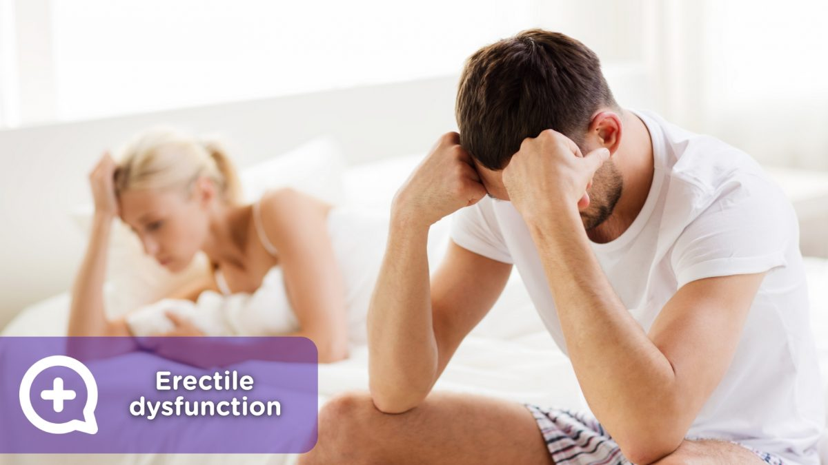 Couple in bed after having erectile dysfunction, limp dick or impotence.