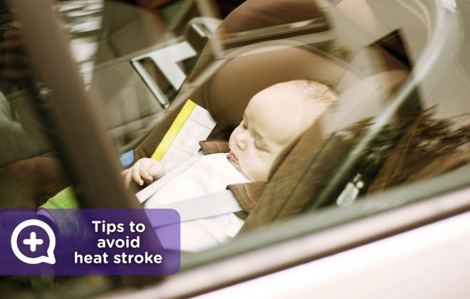 Baby inside the car, insulation, heat stroke, excessive body temperature, dehydration, summer.