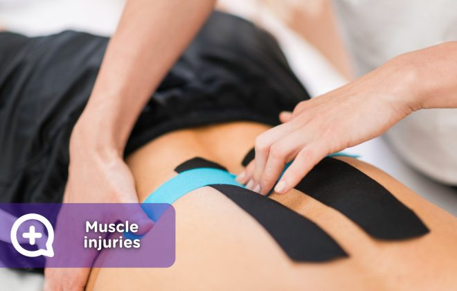 Muscle injury, by exercising, applying kinesio tape.