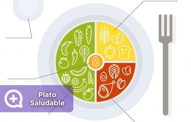 Plato saludable, mediquo, proteínas, hidratos de carbono, verduras, frutas, agua, grasas saludables.
