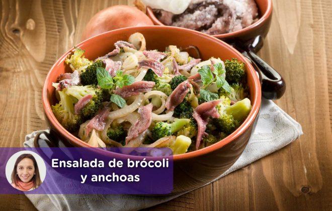 Ensalada brócoli, anchoas, mediquo, nutrición, alimentación. Salud. Cristina Romagosa.