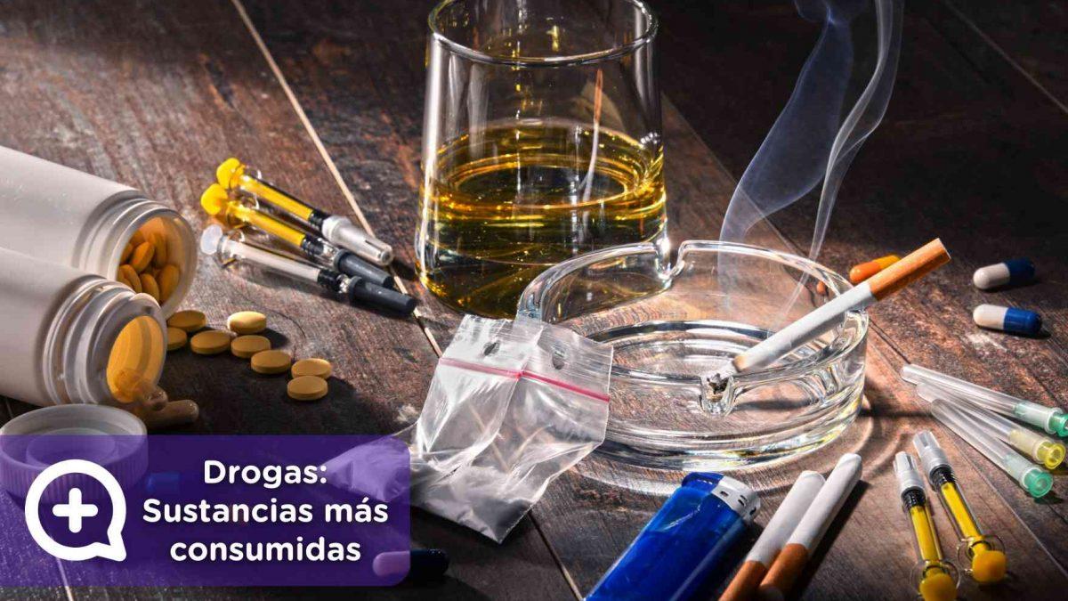 Drogas, sustancias más consumidas. Alcohol, cocaína, tabaco. Mediquo. Riesgos. Salud.