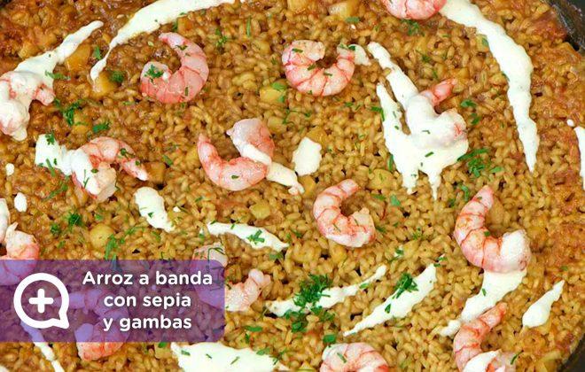 Receta arroz a banda con sepia y gambas. Mediquo, recetas fáciles, dieta mediterránea, salud.