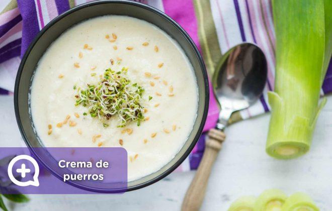 crema de puerros y almendras, mediquo, salud, nutrición, receta, recetas fáciles