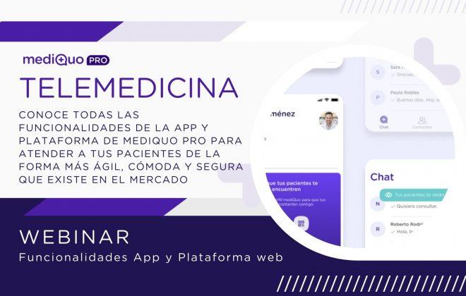 MediQuo PRO webinar. Telemedicina. App. SAAS. Plataforma web. MediQuo PRO web
