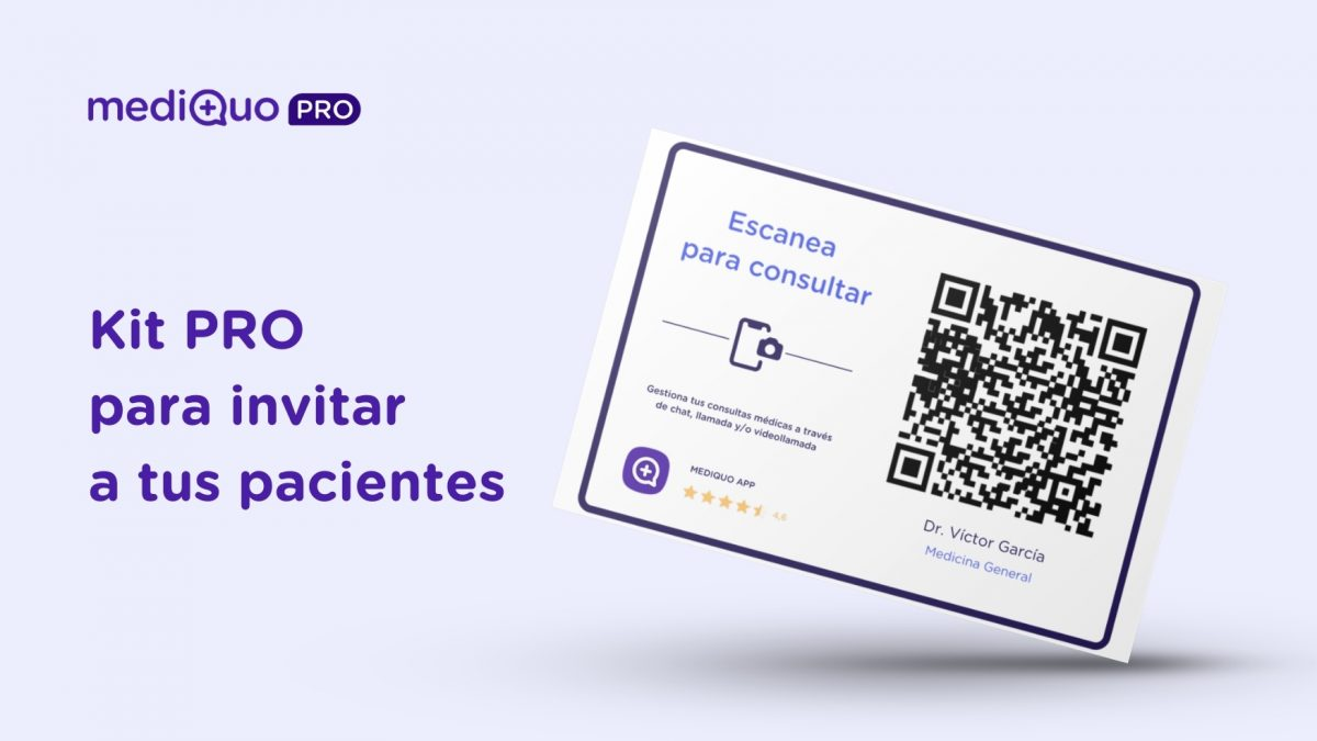 Kit PRO para invitar a tus pacientes. MediQuo PRO. Telemedicina, QR