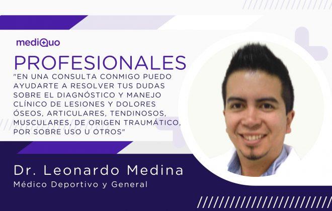 Leonardo Medina_profesional_mediQuo. Médico deportivo y general. Consulta online. Chat médico. Salud.